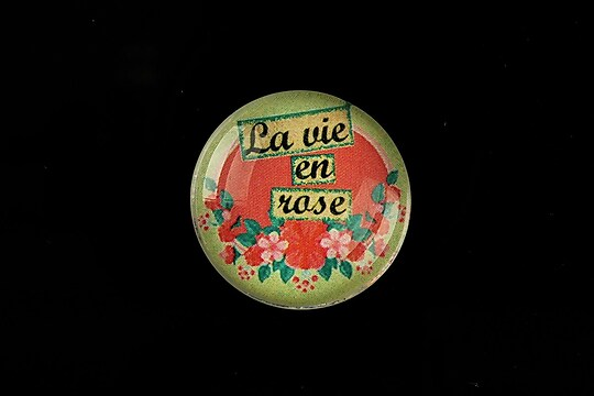 "Cabochon sticla 25mm ""La vie en rose"" cod 802"