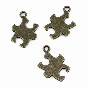 Charm bronz piesa puzzle 21x15mm