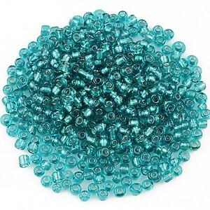 Margele de nisip 2mm cu foita argintie (50g) - cod 519 - albastru