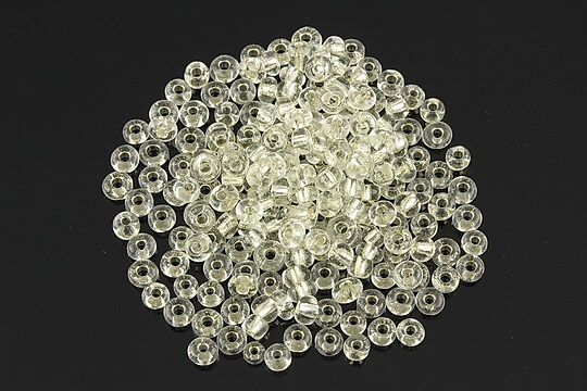 Margele de nisip 3mm cu foita argintie (50g) - cod 525 - alb transparent
