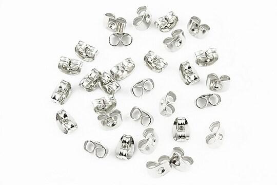 Stoppere metalice argintiu inchis pentru cercei (20buc.)