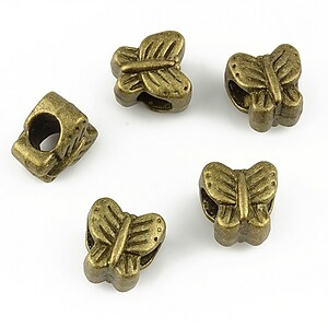 Distantier bronz  tip Pandora, fluture 10x10mm
