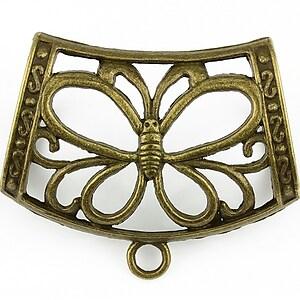 Agatatoare pandantiv fluture, piesa centrala, bronz,  43x35mm