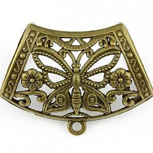 Agatatoare pandantiv fluture, piesa centrala, bronz,  43x32mm