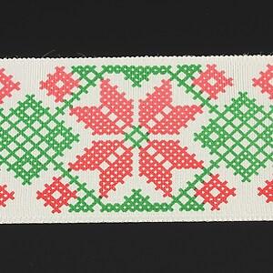 Panglica imprimata cu model folcloric, latime 4,5cm (1m) - verde si rosu