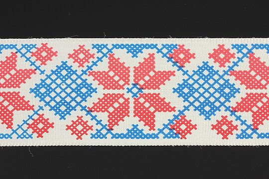 Panglica imprimata cu model folcloric, latime 4,5cm (1m) - albastru si rosu