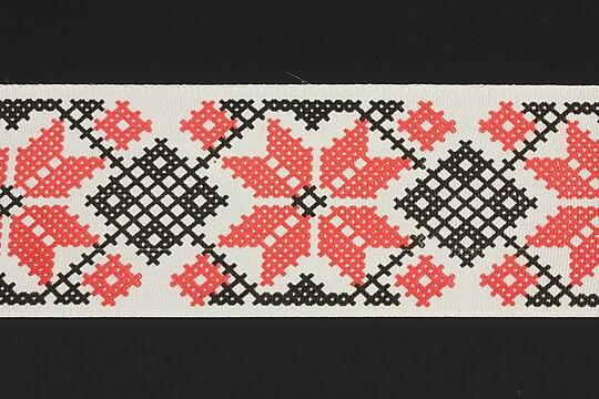 Panglica imprimata cu model folcloric, latime 4,5cm (1m) - negru si rosu