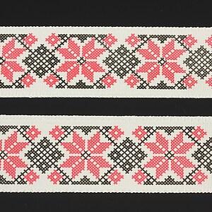 Panglica imprimata cu model folcloric, latime 2,5cm (1m) - negru si rosu