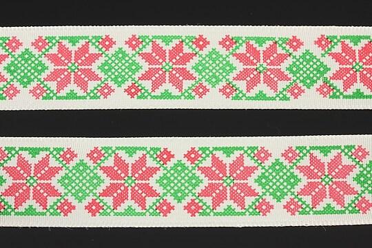 Panglica imprimata cu model folcloric, latime 2,5cm (1m) - verde si rosu