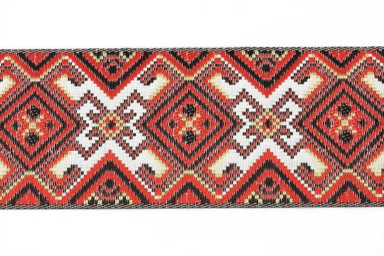 Panglica tesuta cu model folcloric, latime 4,8cm (1m) - rosu si negru