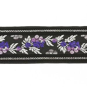 Panglica neagra tesuta cu trandafiri, latime 3,4cm (1m) - argintiu si mov