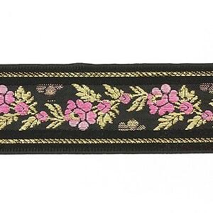 Panglica neagra tesuta cu trandafiri, latime 3,4cm (1m) - auriu si roz