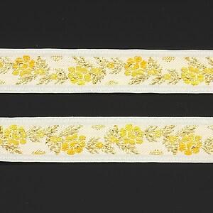 Panglica alba tesuta cu trandafiri, latime 1,6cm (1m) - auriu si galben