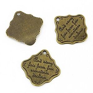 Charm bronz scrisoare 19x19mm