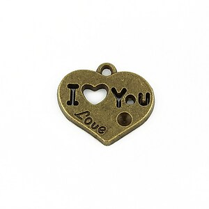 Charm bronz inima I love you 19x21mm