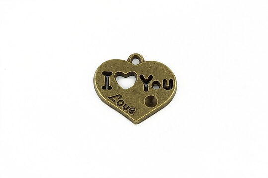 Charm bronz inima I love you 19x21mm