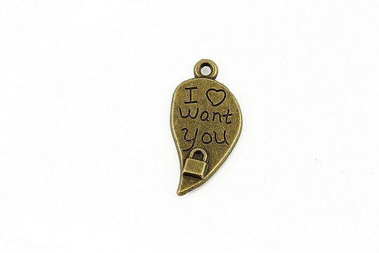 Charm bronz I want you 26x12mm