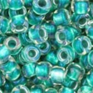 Margele Toho rotunde 8/0 - Inside-Color Rainbow Crystal/Teal Lined