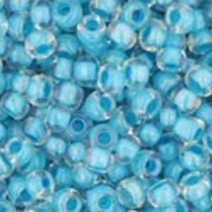 Margele Toho rotunde 11/0 - Inside-Color Luster Crystal/Opaque Aqua Lined