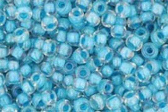 Margele Toho rotunde 11/0 - Inside-Color Luster Crystal/Opaque Aqua Lined