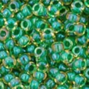 Margele Toho rotunde 11/0 - Inside-Color Luster Jonquil/Emerald Lined