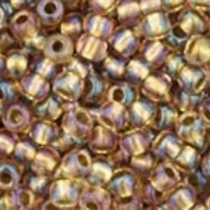 Margele Toho rotunde 11/0 - Inside-Color Rainbow Crystal/Gold Lined