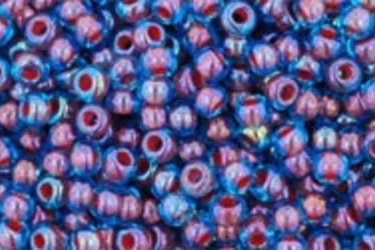 Margele Toho rotunde 11/0 - Inside-Color Aqua/Oxblood Lined