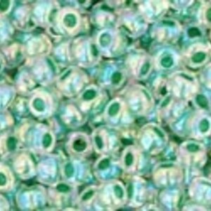 Margele Toho rotunde 11/0 - Inside-Color Rainbow Crystal/Shamrock Lined