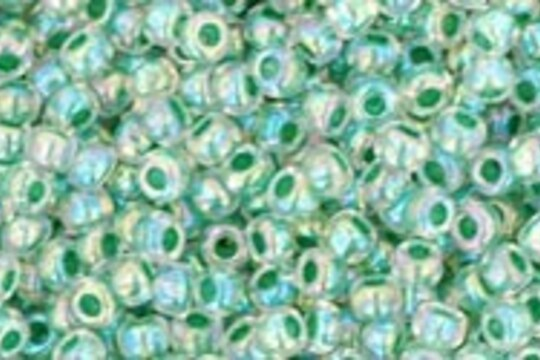 Margele Toho rotunde 11/0 - Inside-Color Rainbow Crystal/Shamrock Lined