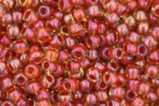 Margele Toho rotunde 11/0 - Inside-Color Jonquil/Brick Red Lined