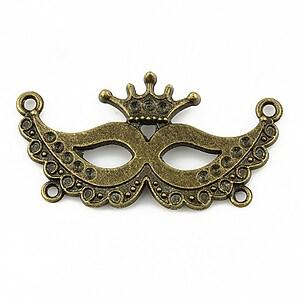 Link bronz masca venetiana cu orificii pentru rhinestone 40x21mm