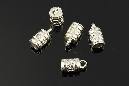 Capat de snur argintiu 13x7mm (interior 5mm)