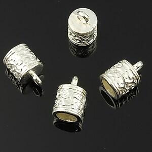 Capat de snur argintiu 14x8mm (interior 6mm)