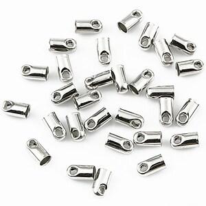 Capat snur argintiu inchis, interior 2,4mm (10buc.)