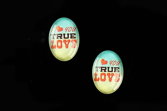"Cabochon sticla 18x13mm ""This is love"" cod 861"