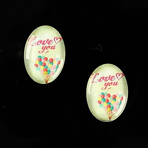 "Cabochon sticla 18x13mm ""This is love"" cod 863"