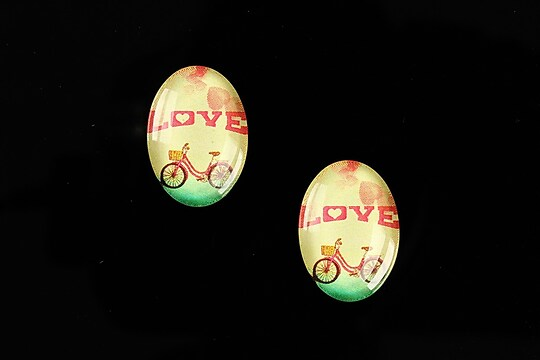 "Cabochon sticla 18x13mm ""This is love"" cod 865"