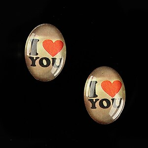 "Cabochon sticla 18x13mm ""This is love"" cod 868"