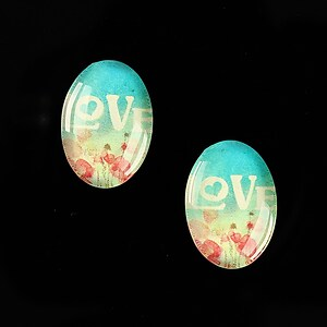 "Cabochon sticla 18x13mm ""This is love"" cod 869"