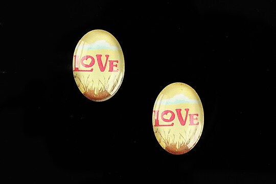 "Cabochon sticla 18x13mm ""This is love"" cod 870"