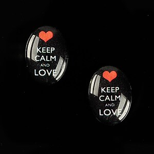 "Cabochon sticla 18x13mm ""Always Keep Calm"" cod 873"