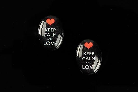 """Cabochon sticla 18x13mm """"Always Keep Calm"""" cod 873"""