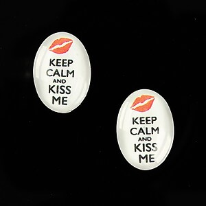 "Cabochon sticla 18x13mm ""Always Keep Calm"" cod 874"