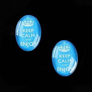 """Cabochon sticla 18x13mm """"Always Keep Calm"""" cod 876"""