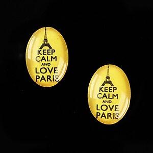 """Cabochon sticla 18x13mm """"Always Keep Calm"""" cod 877"""