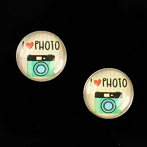 "Cabochon sticla 16mm ""Vintage Camera"" cod 883"