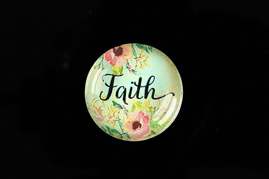 "Cabochon sticla 25mm ""Faith"" cod 933"