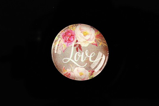 "Cabochon sticla 25mm ""Love"" cod 935"