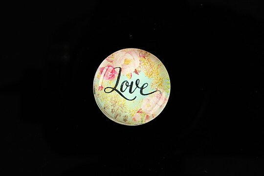 "Cabochon sticla 20mm ""Love"" cod 960"