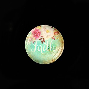 "Cabochon sticla 20mm ""Faith"" cod 963"